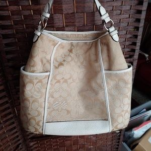 Authentic Coach Bag Canvas with White Leather